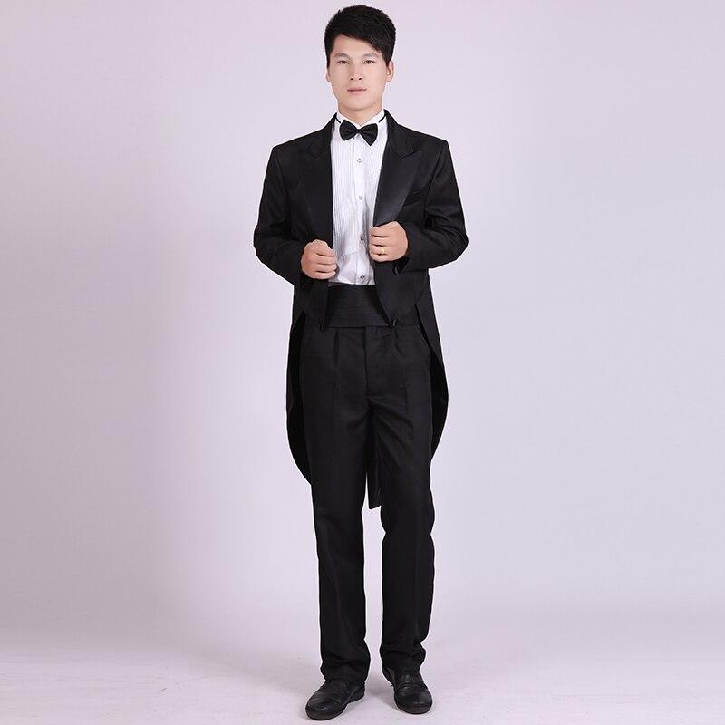 Черное платье смокинг для мужчин, черная одежда для джазового и рождественского шоу, костюм для свадьбы, фрак, мужские костюмы для смокингов