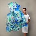 2016 женщины зиму шарф платок весна осень синий шелковые шарфы печатных лето 100% шелка шелковицы пляж n-ups