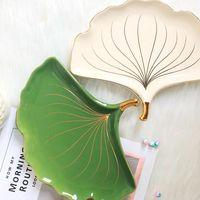 1 piece European style ceramic ginkgo leaf tray home furnishings decorative plate jewelry storage box