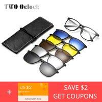 Два Oclock магнитные солнцезащитных очков Для мужчин Для женщин поляризационные UV400 клип на Близорукость Оптические рецепту очки Рамка ПК 5 в 1 ...