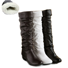Women's Fashion Synthetic Leather Snow Boots Casual Knee High Long Boots Leisure Plush Winter Autumn Warm FUR Boots for Ladies