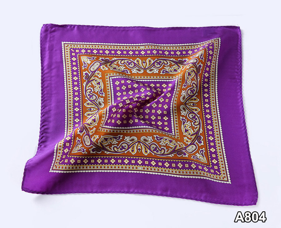A804,HN07P)  Purple Khaki Paisley 33cm