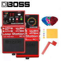 Boss RC 1 or RC 3 Loop Station Pedal for Guitar Bundle with Picks, Polishing Cloth and Strings Winder