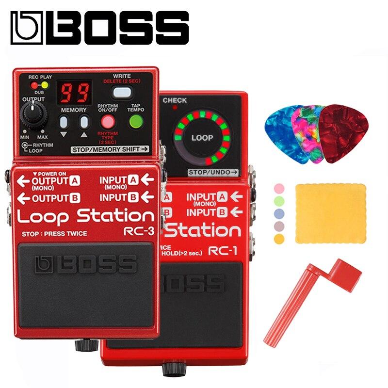 Boss RC-1 ou RC-3 pédale de Station de boucle pour faisceau de guitare avec médiators, chiffon de polissage et enrouleur de cordes