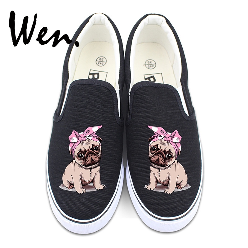 Wen Women Canvas Slip on Shoes Flats Design Pug Dog Pet Pink Bowknot Platform Athletic Sneakers for Men Christmas Gifts