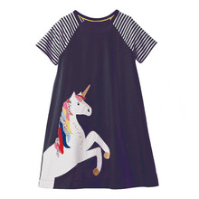 Jumping Meters Unicorn Girls Summer Dress 2019 Princess for Girls Costume Animal Applique Children Party Dress Baby Girl Clothes