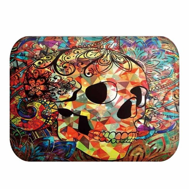 Mdct Rainbow Fl Arts Sugar Skull Pattern Floor Area Rugs Anti Skid Soft Fleece Doorway