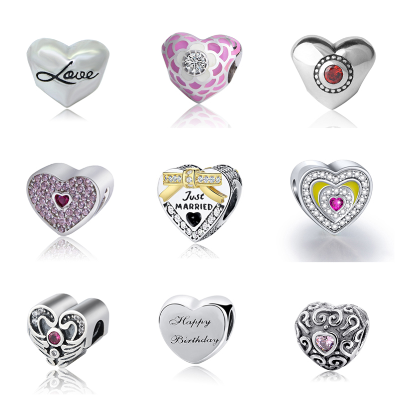 SG 925 Silver Love Heart wing happy birthday Charms Beads with CZ stone Fit Authentic pandora Bracelets Jewelry For Lover Gifts