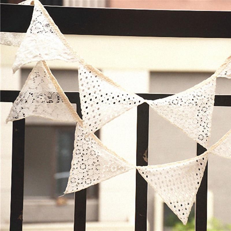 DIY винтажные деревенские свадебные кружевные Треугольные флаги хлопковый Топпер для торта флажки баннер банкетное место украшение для сва...