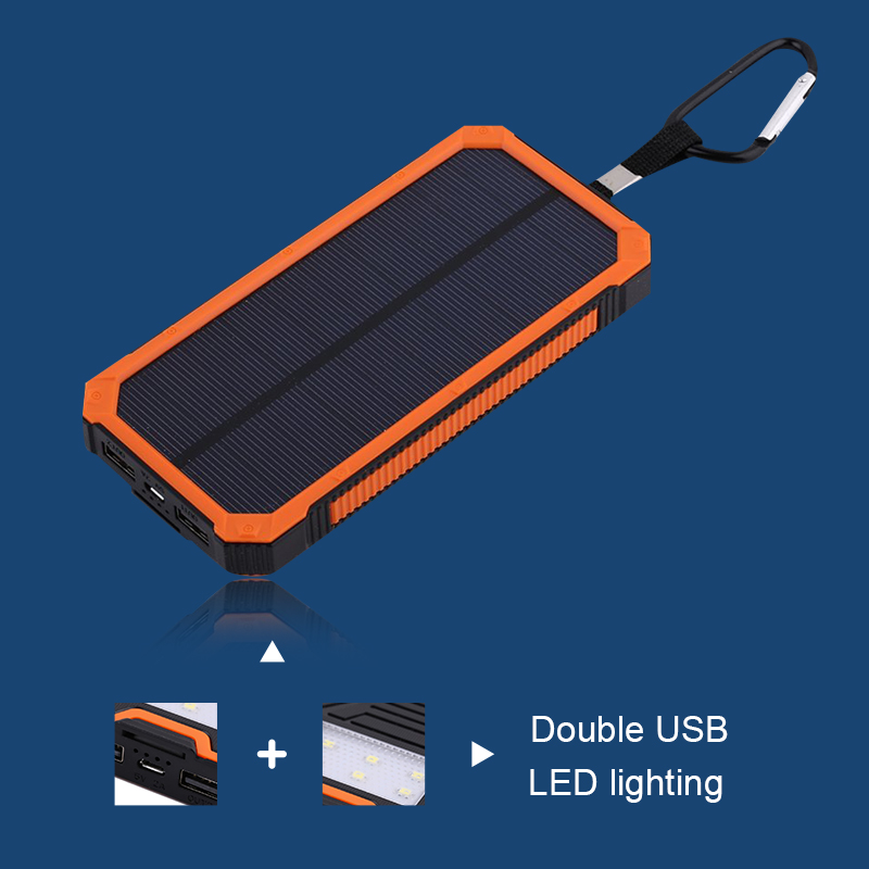 bilder für Energienbank 8000 MAH Wasserdichte Solar Power Stromversorgungsanlagebank Mit LED-Licht powerbank für iPhone 6 für Samsung Tablet handys