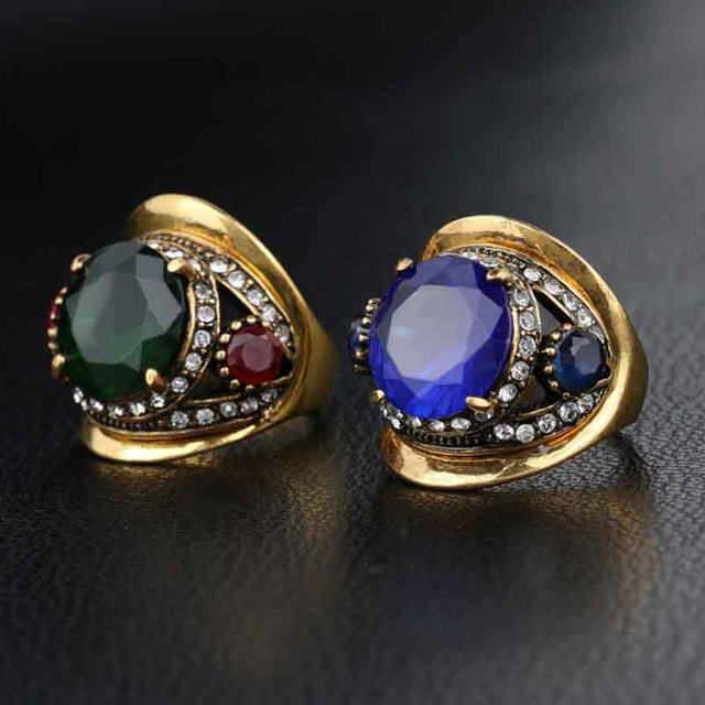 Medieval Vintage Retro Glass Crystal Antique Gold Color Rings For Women Men Fashion Jewelry anillos hombre