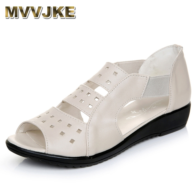 MVVJKE Summer Women Shoes Woman Genuine Leather Flat Sandals Casual Open Toe Sandals Women Sandals drkanol women sandals 2018 genuine leather flat gladiator sandals for women summer casual shoes peep toe slip on vintage sandals