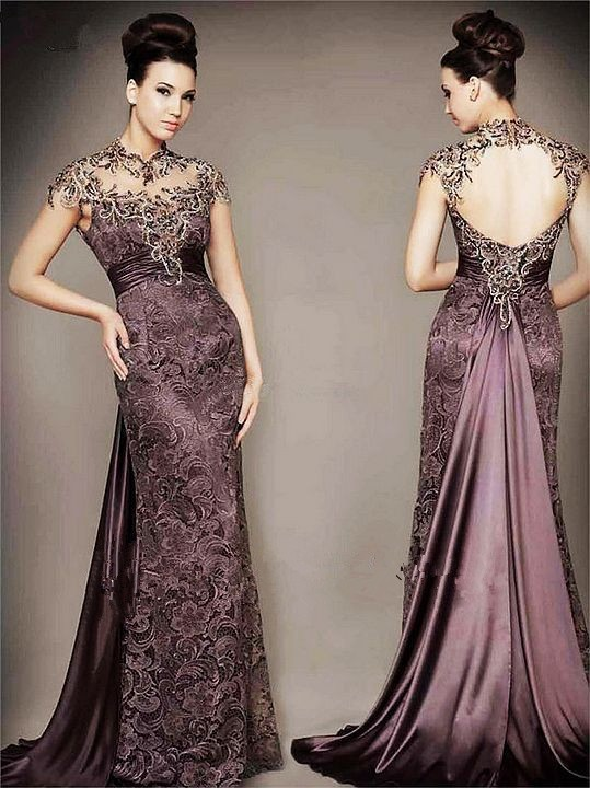 2014 Vestidos High Neck Lace Vintage Evening Gowns Mother of Bridal Dresses Open Back