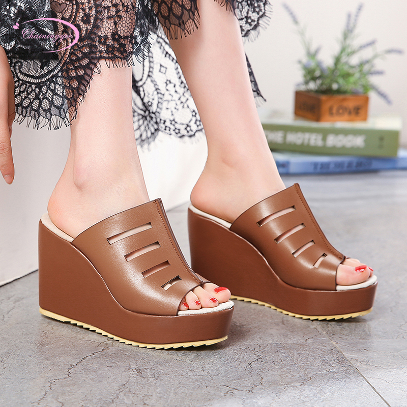 European casual style <font><b>sexy</b></font> peep toe summer house <font><b>women</b></font> <font><b>slippers</b></font> fashion slip-on platform <font><b>high</b></font> <font><b>heel</b></font> <font><b>wedge</b></font> <font><b>women's</b></font> <font><b>shoes</b></font> image
