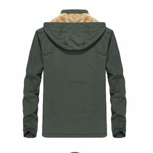 Image 4 - KOSMO MASA Black Fur Parka Men Coats Winter Jacket Mens Cotton Zipper Military Long Sleeve Hooded Casual Down Parkas 5XL MP027