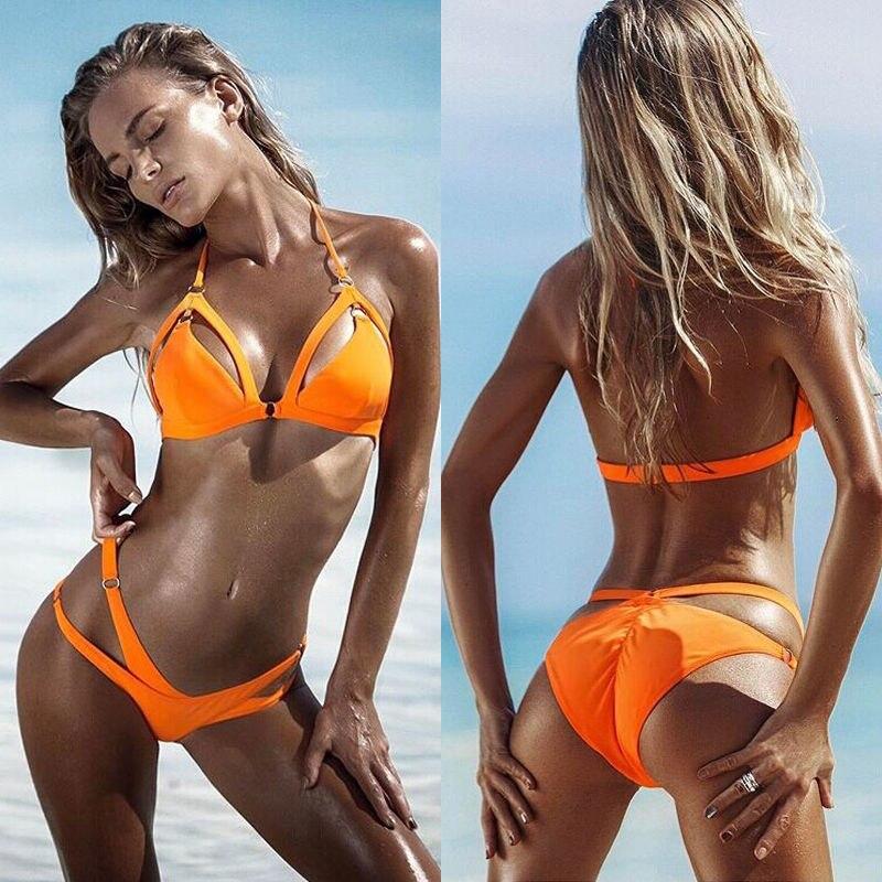2017 New Women's Bikinis Set Bandage Soli Swimwear Push-up Paded Bra Swimsuit Belt Triangle Bathing Suit Bather Women Beachwear