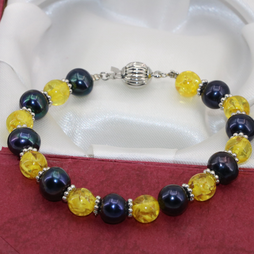 Bohemia style 8mm round faux resin beeswax black natural 7-8mm pearl pretty bracelets spacers beads 7.5inch B2745
