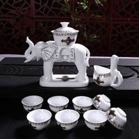 New Elephant Porcelain Kung Fu Tea Set Cups Automatic White Ceramic Transparent Tea Pot Cup Sets With Gift Box