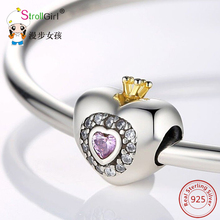 Фотография 925 Silver Charms Fit Pandora Bracelet DIY Original Silver Jewelry 100% Authentic 925 Sterling Silver Heart Shape Charm Beads