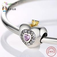 Fit Authentique 925 Charmes Bracelet Argent 925 D'origine Princesse Coeur Avec Rose CZ Bijoux En Argent Sterling Perles Pour Berloque