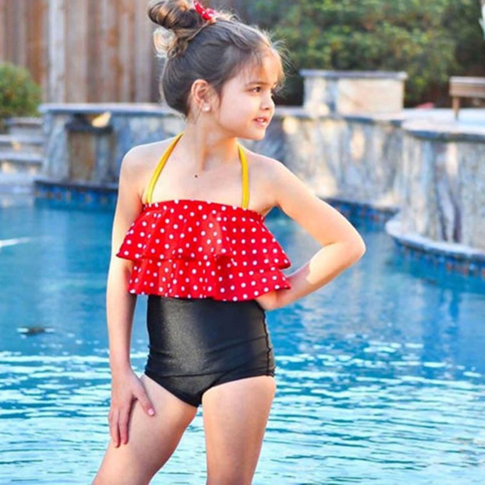2019 Lovely Swimwear Toddler Baby Girl Dots Bikini Children Kids Girls Bikini Beach Straps Swimsuit Tops+Shorts Swimwear Set A1