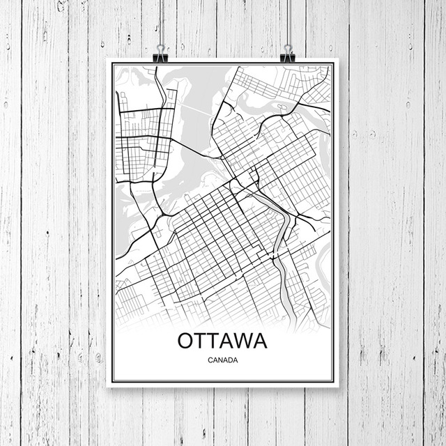 Famous World City Map OTTAWA Canada Print Poster Abstract Coated Paper Bar Cafe Pub Living Room