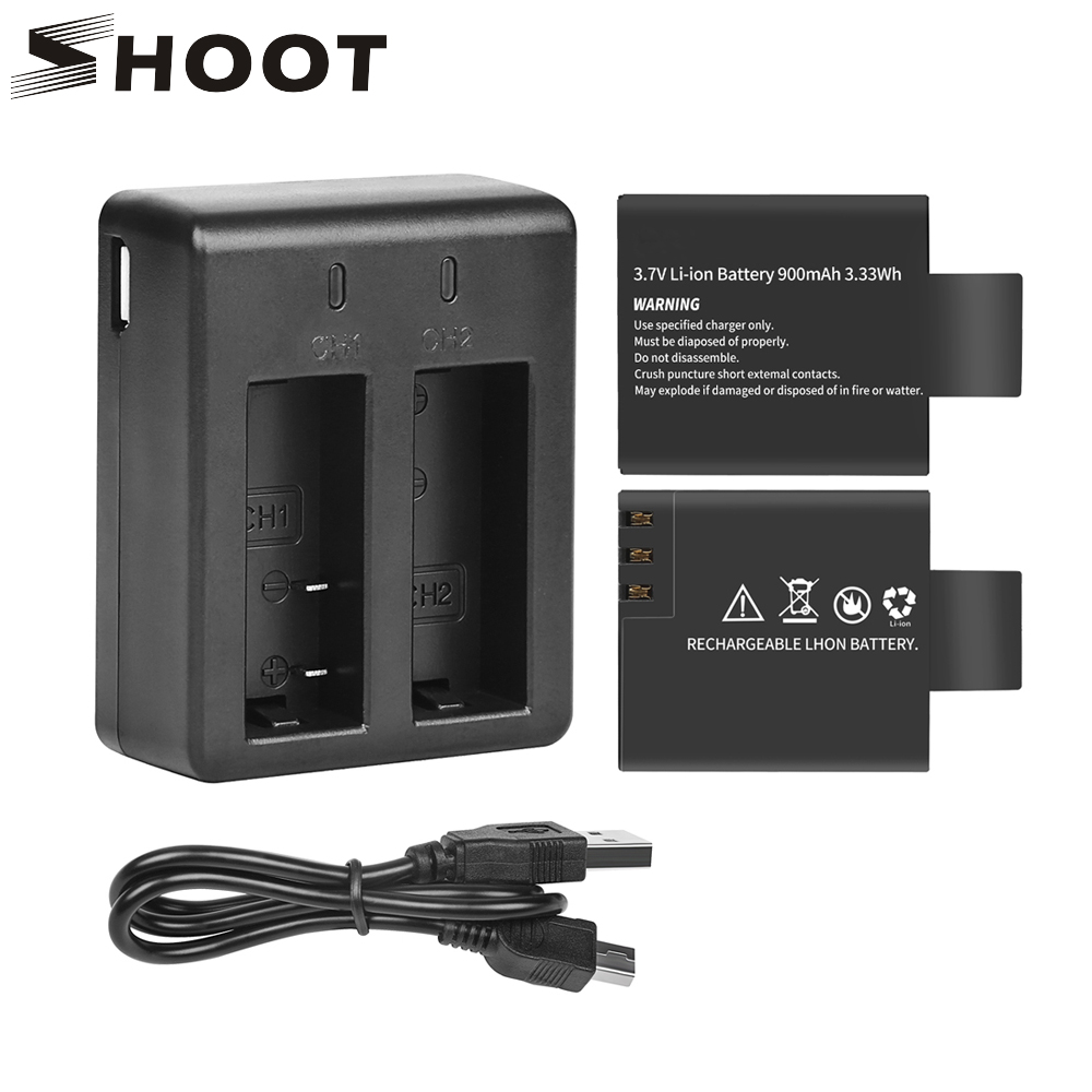SHOOT Dual Port Battery Charger with 2pcs 900mAh Battery for Sjcam sj4000 sj5000 M10 4000 5000 Action Camera Sjcam Accessories цена