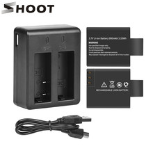 SHOOT Dual Port Battery Charger with 2pcs 900mAh Battery for Sjcam sj4000 sj5000 M10 4000 5000 Action Camera Sjcam Accessories(China)