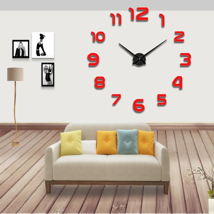 New Fashion 3D Big Size Wall Clock Modern Decoration Horloge DIY Mirror Stickers Clocks  Large Digitial Watch