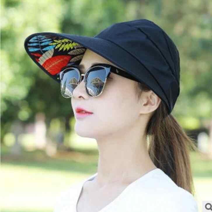 6189dff5229 ... 1PCS women summer Sun Hats pearl packable sun visor hat with big heads  wide brim beach ...