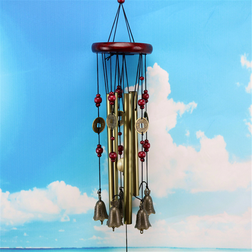 Straight 4-Tubes Copper Coin Pendant Hanging Blessing Wind Chime Bell Home Decor