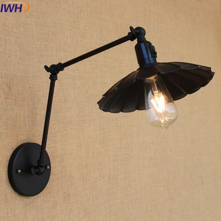 Industrial Vintage Wall Lamps Simple Iron Wall Lights Loft Little Umbrella Double Arm Bedside Lamp Restaurant Light Fixtures