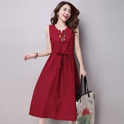Women Dresses National Wind Summer Women Dress Sleeveless Pure Color VNeck Women Casual Dress Large Size SXxl A636