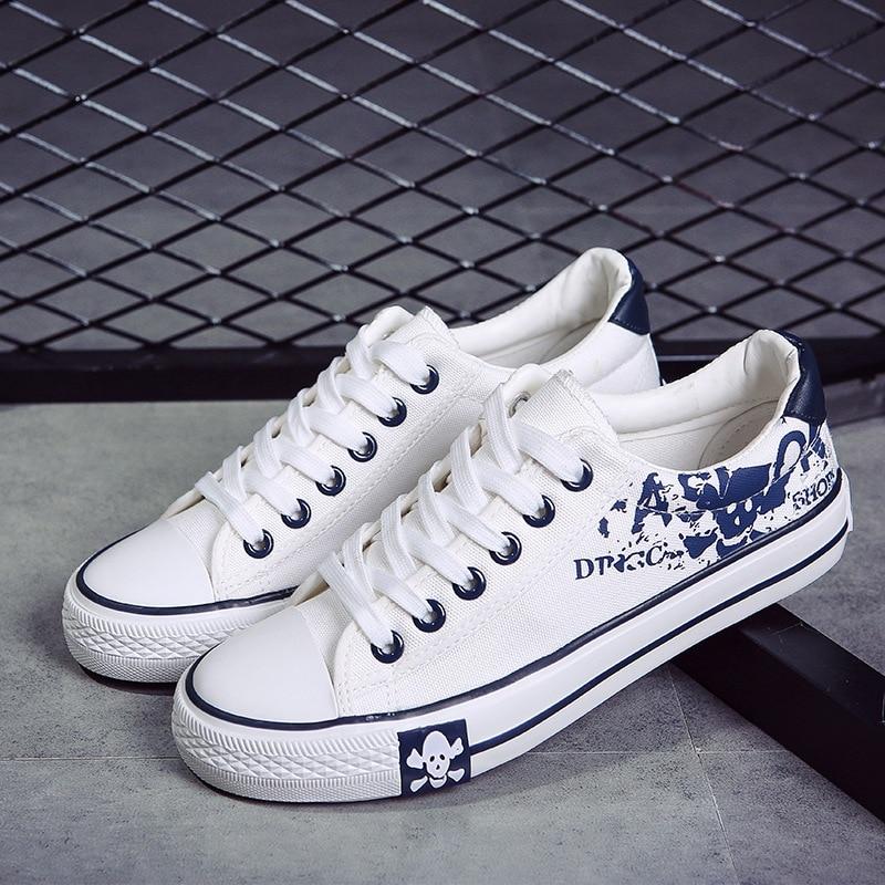 Blanc blanc 2018 Automne Vulcanisé Impression Étudiants Mode Masculino Casual Printemps Graffiti Chaussures Noir Hommes Mexemina Adulte ZAq8wZ