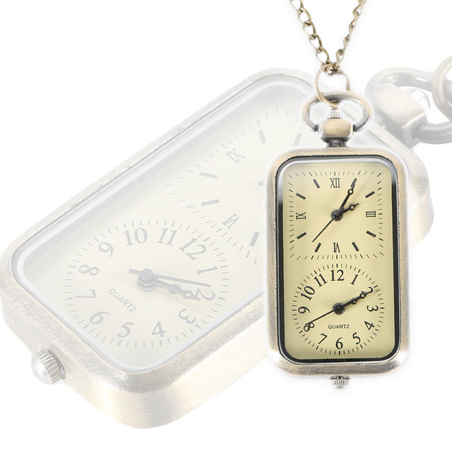 Steampunk Pocket Watch Dual Double Time Zone Movement Necklace Chain Clock Recta