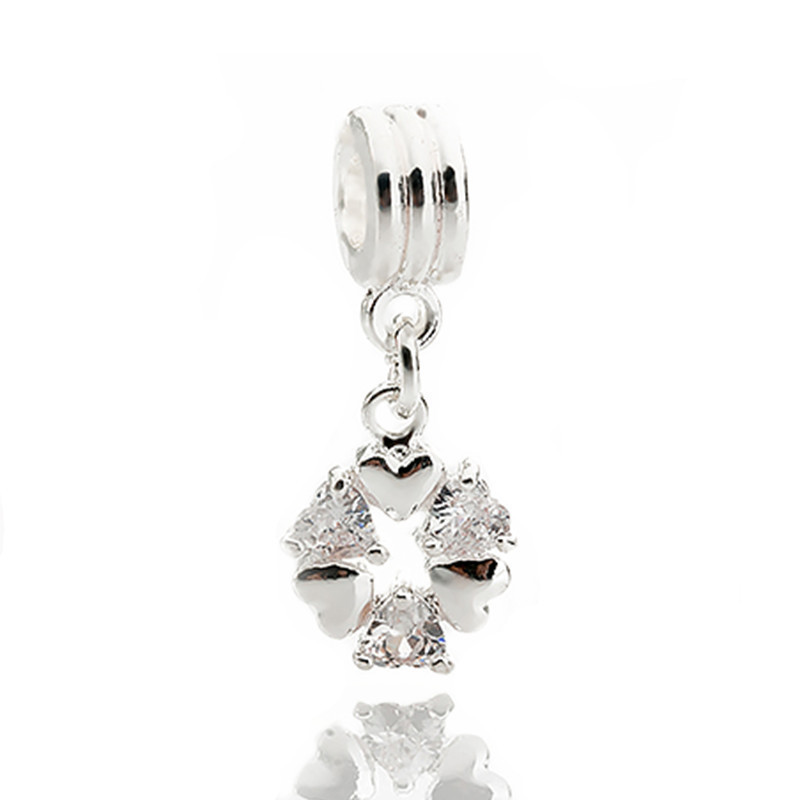 Ranqin silver color love Zircon bead fit Pandora charm bracelet DIY dangle animal charms for pendants jewelry making