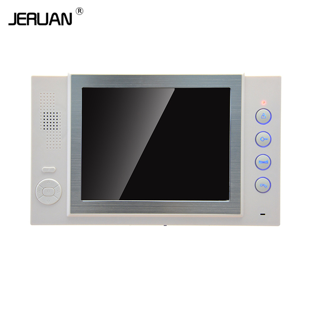 JERUAN 8`` color TFT LCD monitor intercom system only monitor video door phone  video recording photo taking white shell