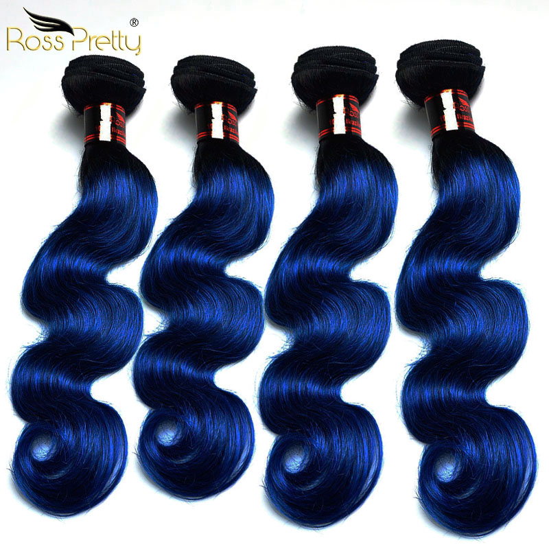 Ross Pretty Body Wave Hair Extension Better Price For High Quality Hair Brazilian Remy Hair Weave Ombre color 1b/Blue 4Pcs