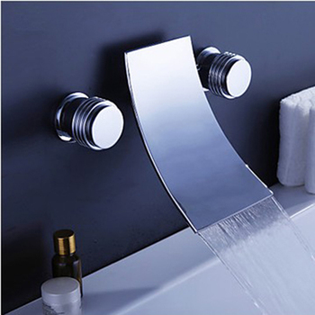 Bathroom faucet Waterfall basin faucet Into the wall washbasin water tap Double handle single hole basin faucet Tile water tap