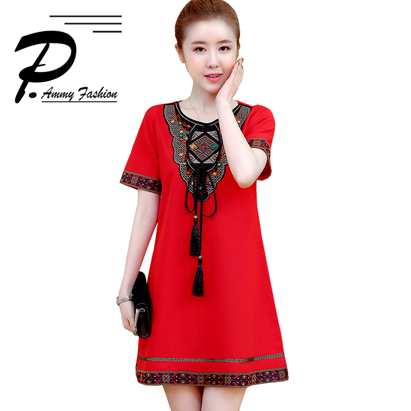 M~4XL Spring New Vintage Dress Womens Fashion Short Sleeve Loose A-Line Tunic Dress 2018 lagenlook voguee