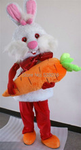 2015 Newest Design Easter Bunny Rabbit Mascot Costume With Carrot Adult Size Cartoon Character Holiday Costume Fancy DressSW1215(China)