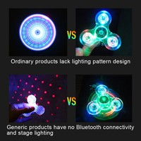 Newest Fidget Spinner Crystal LED Stage Light Hand Finger With Bluetooth Speaker Answer Call Listen Music