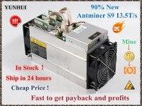 ใช้ AntMiner S9 13.5 T Bitcoin Miner Asic Miner 16nm Btc BCH คนงานเหมือง Bitcoin Mining เครื่องดีกว่า Whatsminer M3