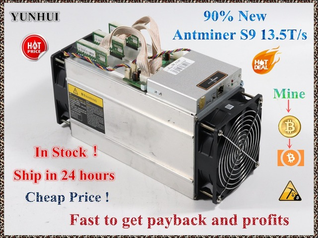 Б/у AntMiner S9 13,5 T Биткойн Майнер шахтерная микросхема 16nm Btc BCH Майнер биткоинов врубовая машина лучше, чем Whatsminer M3
