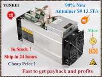 Używane AntMiner S9 13.5T koparka bitcoinów górnik Asic 16nm Btc BCH górnik Bitcoin maszyna górnicza lepiej niż Whatsminer M3