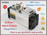 Used AntMiner S9 13.5T Bitcoin Miner Asic Miner 16nm Btc BCH Miner Bitcoin Mining Machine Better Than Whatsminer M3