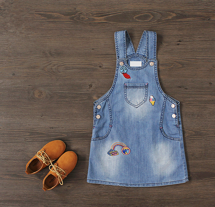 New Arrival Baby Girls Denim Sundress Girls Embroidery Sundress Kids Suspender Denim dress Child Fashion Sundress 2017 new arrival baby girls denim sundress girls fashion sundress kids suspender denim dress child casual sundress