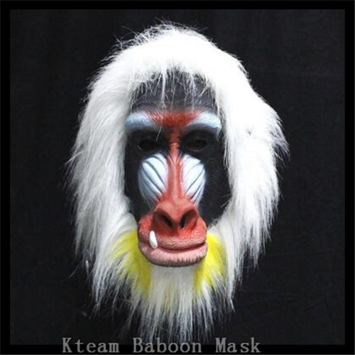 Top Grade 100% Latex Halloween Party Celebration Toys Realistic Cute Animal Mask Latex Baboon Mask Monkey for Chrismas cosplay
