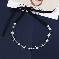 Très Fille femmes argent couleur strass cz flocons de neige étoiles réglable elalstic noir tissu collier ras du cou collier