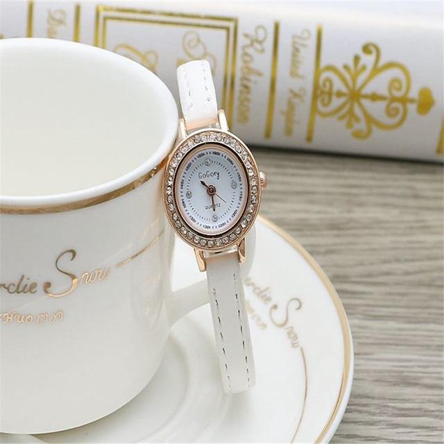 28a2769c705 Venda quente Gogoey marca couro fino Coreano relógios das senhoras das mulheres  strass Vestido de Quartzo Relógio de Pulso Relogio feminino go4409R  11